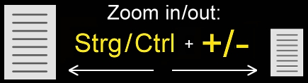 Browser-Zoom  in/out   Strg/Ctrl  +  +/-