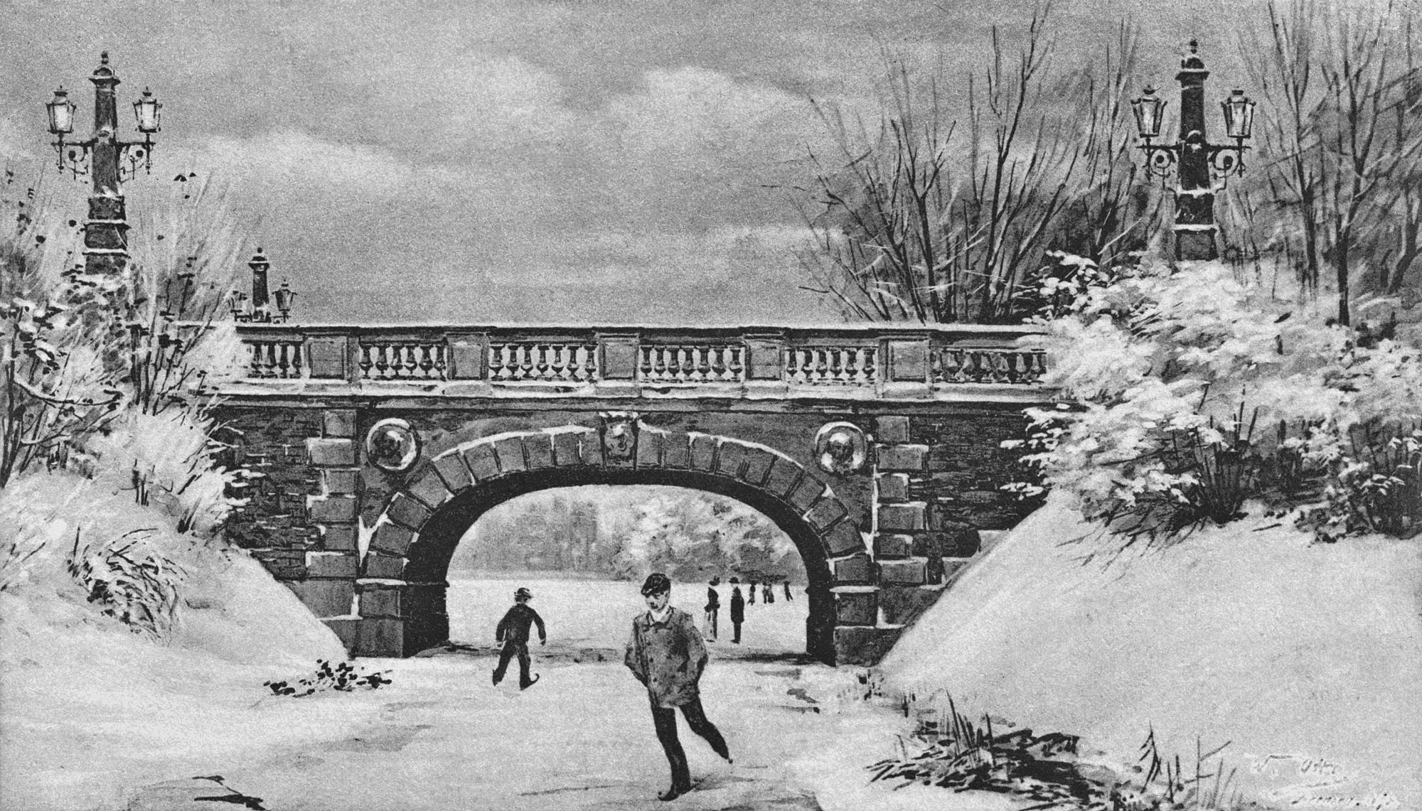 Nr.300 - Melchersbrücke im Winter, Schlittschuläufer