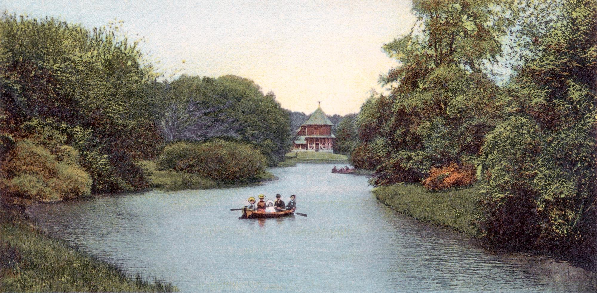 Nr.696 - Blick uebers Wasser zum Wildgehege, Ruderboot