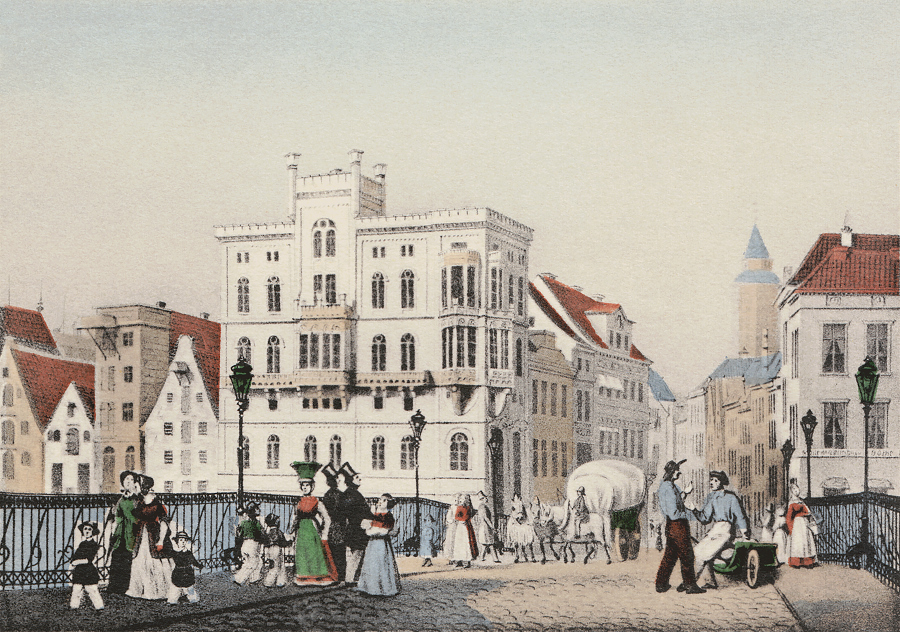 Stich 04, Weserbrücke, Kapffhaus, Wachtstrasse - 1854